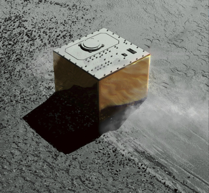 This computer graphic image provided by the Japan Aerospace Exploration Agency (JAXA) shows the Mobile Asteroid Surface Scout, or MASCOT, lander on the asteroid Ryugu. The Japanese unmanned spacecraft Hayabusa2 dropped the German-French observation device, MASCOT, on Wednesday, Oct. 3, 2018, to land on the asteroid as part of a research effort intended to find clues to the origin of the solar system. (JAXA via AP)
