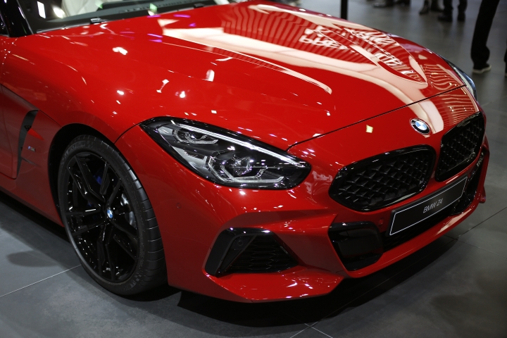 The BMW Z4 is on display at the Auto show in Paris, France, Tuesday, Oct. 2, 2018, 2018. BMW says its Mini and Rolls Royce factories in the U.K. will halt production for maintenance during the Brexit period next year to avoid any supply repercussions from the country's withdrawal from the European Union. (AP Photo/Thibault Camus)