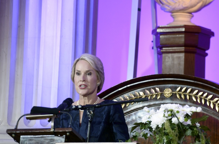 FILE - In this Tuesday, May 24, 2016 file photo, US biochemical engineer Frances Arnold, speaks after winning the Millennium Technology Prize 2016 during the awards ceremony in Helsinki, Finland. Frances Arnold, US, George P Smith US and Gregory P Winter of Britain have been awarded the 2018 Nobel Prize in Chemistry. (Heikki Saukkomaa/Lehtikuva via AP)