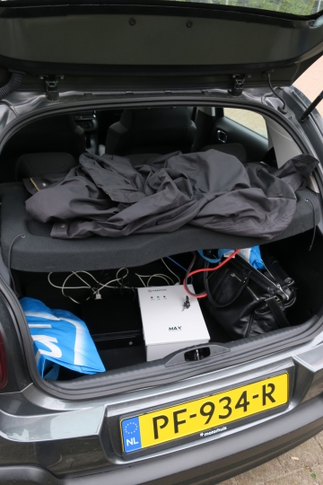 In this image released by the Dutch Defense Ministry on Thursday Oct. 4, 2018, the boot of a car filled with hacking equipment belonging to four Russian officers of the Main Directorate of the General Staff of the Armed Forces of the Russian Federation, GRU, is seen on April 13, 2018. The officers were expelled from the Netherlands for allegedly trying to hack into the U.N. chemical watchdog OPCW's network. The Dutch defense minister on Thursday Oct. 4, 2018, accused Russia's military intelligence unit of attempted cybercrimes targeting the U.N. chemical weapons watchdog and the investigation into the 2014 Malaysian Airlines crash over Ukraine. (Dutch Defense Ministry via AP)