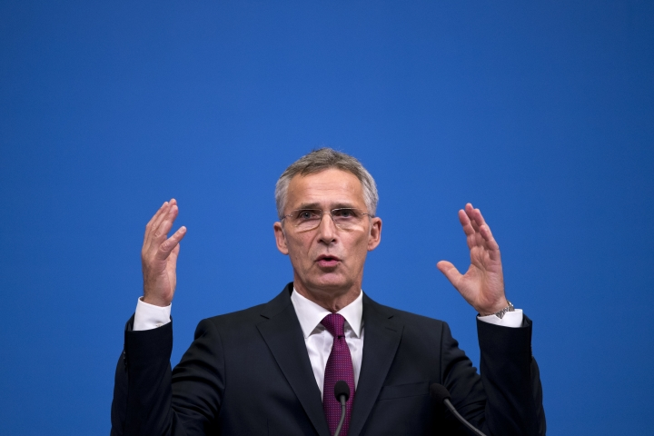 NATO's Secretary General Jens Stoltenberg talks to journalists during a news conference following a meeting of NATO defence ministers at NATO headquarters in Brussels, Wednesday, Oct. 3, 2018. (AP Photo/Francisco Seco, Pool)