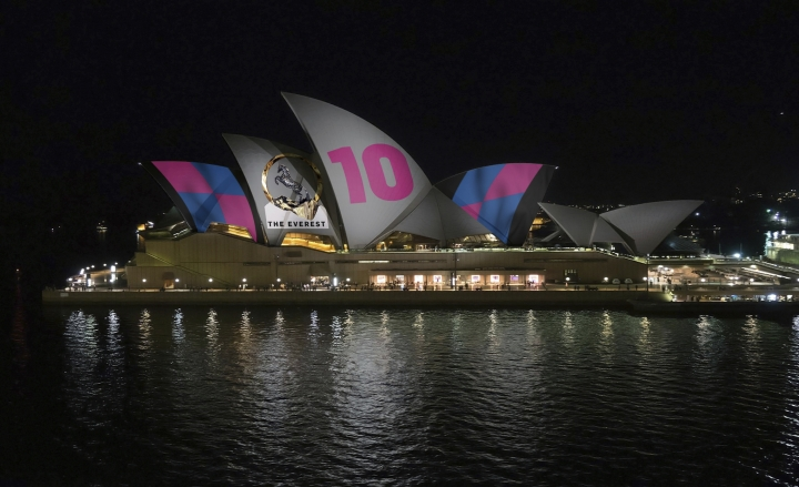 This image provided by Racing NSW shows an artist's impression of how horse race advertising will look on the Sydney Opera House. A plan to project a horse racing advertisement on the famed sails of the Sydney Opera House is dividing Australians. (Racing NSW via AP)