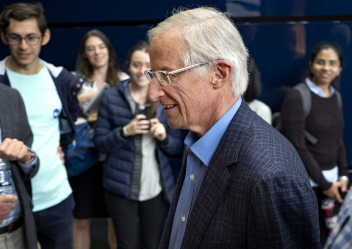 Yale University Professor William Nordhaus, one of the 2018 winners of the Nobel Prize in economics, arrives before speaking and addressing members of the news media about the honor Monday, Oct. 8, 2018, in New Haven, Conn. Nordhaus was named for integrating climate change into long term macroeconomic analysis. (AP Photo/Craig Ruttle)
