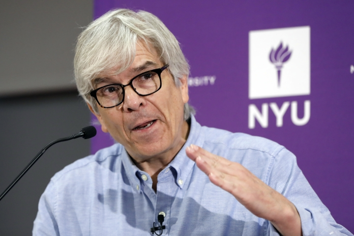 CORRECTS TO CO-WINNER-Paul Romer, co-winner of the 2018 Nobel Prize for Economics, speaks at a news conference at the Stern School of Business of New York University, in New York, Monday, Oct. 8, 2018. Romer has studied the way innovation drives prosperity and has looked at ways to encourage it. (AP Photo/Richard Drew)