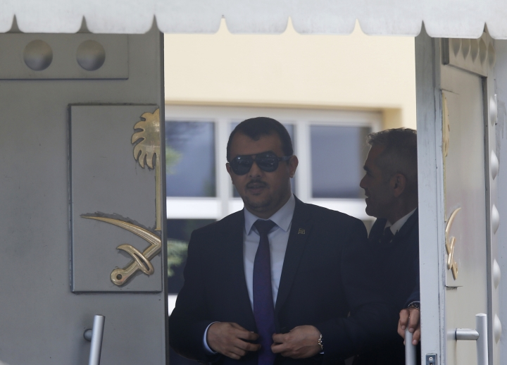 """People leave the Saudi Arabia consulate in Istanbul, Monday, Oct. 8, 2018. Turkey has summoned the Saudi ambassador to request the kingdom's """"full cooperation"""" in an investigation into the disappearance of journalist Jamal Khashoggi, who Turkish officials say was killed while visiting the Saudi Consulate in Istanbul. (AP Photo/Lefteris Pitarakis)"""