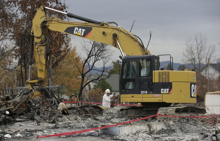 FILE - In this Nov. 8, 2017, file photo, work crews remove debris at the site of a home destroyed by fires in the Coffey Park area of Santa Rosa, Calif. Hundreds of California wine country homeowners who lost their houses to the state's most destructive wildfire last year are complaining that a $1.3 billion U.S. Army Corps of Engineers cleanup project made their situations worse. (AP Photo/Jeff Chiu, File)