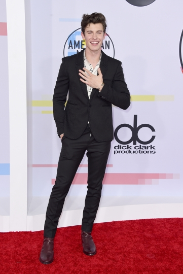 Shawn Mendes arrives at the American Music Awards on Tuesday, Oct. 9, 2018, at the Microsoft Theater in Los Angeles. (Photo by Jordan Strauss/Invision/AP)