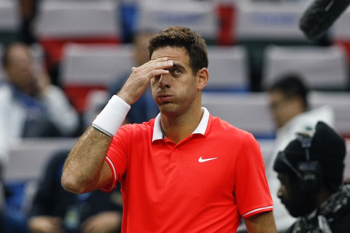 Juan Martin del Potro of Argentina reacts after defeating Richard Gasquet of France in their men's singles match in the Shanghai Masters tennis tournament in Shanghai, China, Wednesday, Oct. 10, 2018. (AP Photo/Andy Wong)