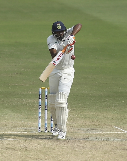 India's Ravichandran Ashwin bats during the third day of the second cricket test match between India and West Indies in Hyderabad, India, Sunday, Oct. 14, 2018. (AP Photo/Mahesh Kumar A.)