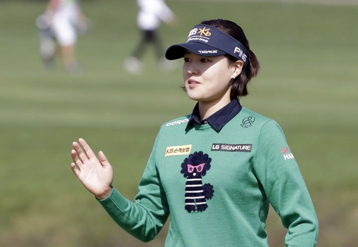 In Gee Chun of South Korea reacts on the 9th hole during the final round of the LPGA KEB Hana Bank Championship at Sky72 Golf Club in Incheon, South Korea, Sunday, Oct. 14, 2018. (AP Photo/Lee Jin-man)