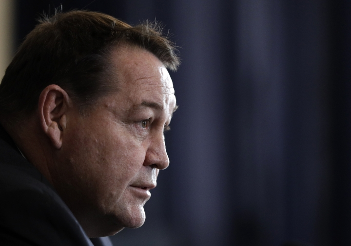 New Zealand All Blacks coach Steve Hansen answers questions during a press conference at the Prebbleton Rugby Club on the outskirts of Christchurch, New Zealand, Monday, Oct. 15, 2018. The All Blacks have taken the unprecedented step of naming a player based in Japan among an enlarged 51-man squad for autumn test matches against Australia, Japan, England, Ireland and Italy. (AP Photo/Mark Baker)
