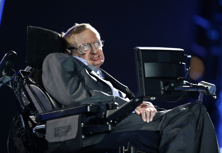 "FILE - In this Wednesday Aug. 29, 2012 file photo, British physicist Professor Stephen Hawking speaks during the Opening Ceremony for the 2012 Paralympics in London, Wednesday Aug. 29, 2012. Stephen Hawking has spoken from beyond the grave to warn that science and education are under threat around the world. The words of the scientist, who died in March at 76, were broadcast Monday Oct. 15, 2018 at a London launch event for his final book, ""Brief Answers To The Big Questions."" (AP Photo/Matt Dunham, file)"