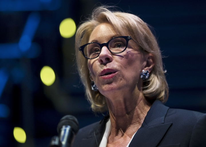 In this Sept. 17, 2018 photo, Education Secretary Betsy DeVos speaks during a student town hall at National Constitution Center in Philadelphia. A federal court has denied a request to delay an Obama-era regulation that helps students defrauded by for-profit colleges get their student loans forgiven. (AP Photo/Matt Rourke)