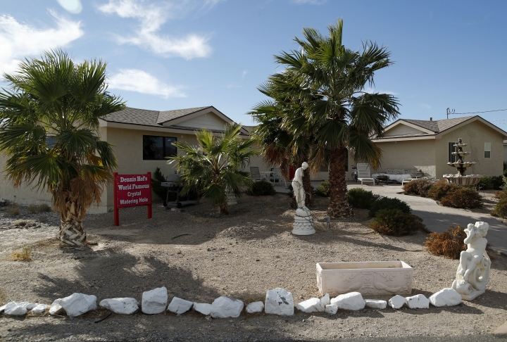 The Love Ranch brothel is seen, Tuesday, Oct. 16, 2018, in Pahrump, Nev. Dennis Hof, a legal pimp who gained notoriety for an HBO series about his brothel business and who fashioned himself as a Donald Trump-style Republican candidate for the state Legislature, was found dead hours after his 72nd birthday bash, authorities said Tuesday. (AP Photo/John Locher)