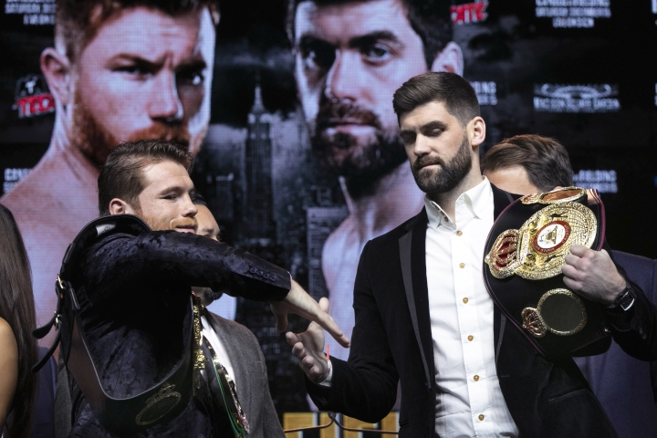 Boxers Canelo Alvarez, left, and Rocky Fielding shake hands after posing for photos at Madison Square Garden in New York, Wednesday, Oct. 17, 2018. They are to meet in a 12-round, super middleweight bout Dec. 15, 2018. (AP Photo/Richard Drew)