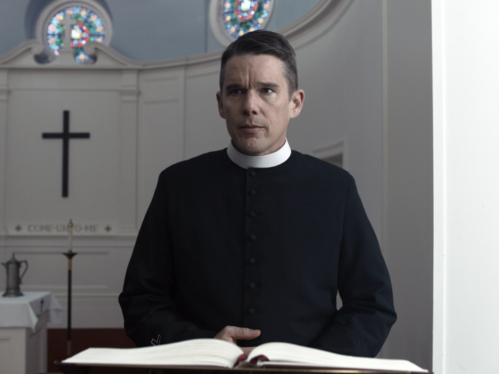 "This image released by A24 shows Ethan Hawke in a scene from ""First Reformed."" Paul Schrader's religious thriller is the leading nominee for the 28th annual Gotham Awards, including nods for best feature and best actor for Hawke. The awards will be handed out Nov. 26 in New York. (A24 via AP)"