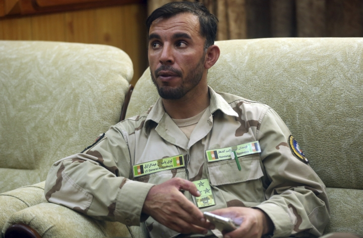 FILE - In this Aug. 4, 2016 file photo, Gen. Abdul Raziq, Kandahar police chief, speaks during an interview with The Associated Press in Kandahar, Afghanistan. Three top Kandahar officials, including Raziq, were killed by their own guards Thursday, Oct. 18, 2018, although a Taliban spokesman who claimed responsibility told The Associated Press in a telephone interview that U.S Gen. Scott Miller, commander of US and NATO troops in Afghanistan was the target. Miller was unhurt but two U.S. troops were injured and evacuated. (AP Photo/Massoud Hossaini, File)