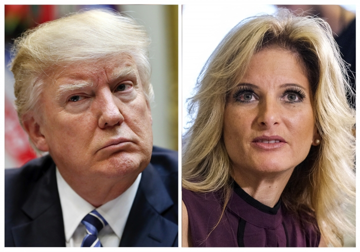 """FILE - In this combination photo, President Donald Trump, left, listens during a meeting at the White House, on March 13, 2017 in Washington and Summer Zervos, a former contestant on """"The Apprentice"""" appears at a news conference in Los Angeles on Oct. 14, 2016. Lawyers for Trump hope to persuade a New York appeals court on Thursday, Oct. 18, 2018, to dismiss or delay a lawsuit against him by former """"Apprentice"""" contestant Summer Zervos. Zervos sued the president for calling her a liar after she accused him of unwanted kissing and groping.(AP Photos/Pablo Martinez Monsivais, left, and Ringo H.W. Chiu, Files)"""
