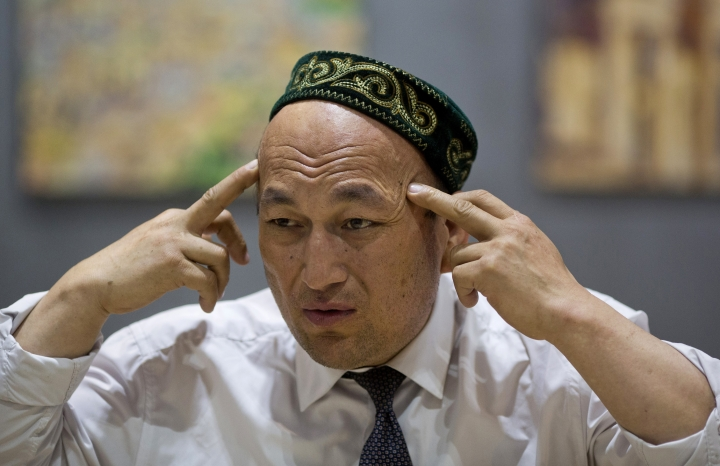 FILE - In this March 29, 2018, file photo, Omir Bekali talks about the psychological stress he endures in a Chinese internment camp during an interview in Almaty, Kazakhstan. Bekali, a former detainee in China's internment camps for Muslims, says his application for a visa to visit the United States was rejected despite an invitation to speak at Congress about his ordeal. (AP Photo/Ng Han Guan, File)