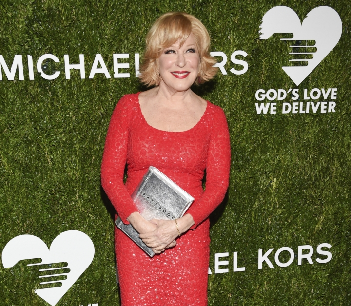 """FILE - in this Tuesday, Oct. 16, 2018 file photo, Bette Midler attends the God's Love We Deliver Golden Heart Awards at Spring Studios in New York. Bette Midler and Brooke Shields are among the guest stars dropping in on CBS' """"Murphy Brown"""" revival. The singer-actress is back as Caprice on the Nov. 8 episode, this time with a connection to Murphy that makes her even more unbearable, CBS said Thursday, Oct. 18, 2018. (Photo by Evan Agostini/Invision/AP, File)"""