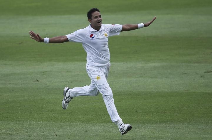 Pakistan's Mohammad Abbas celebrates the dismissal of Australia's Tim Paine in their test match in Abu Dhabi, United Arab Emirates, Friday, Oct. 19, 2018. (AP Photo/Kamran Jebreili)