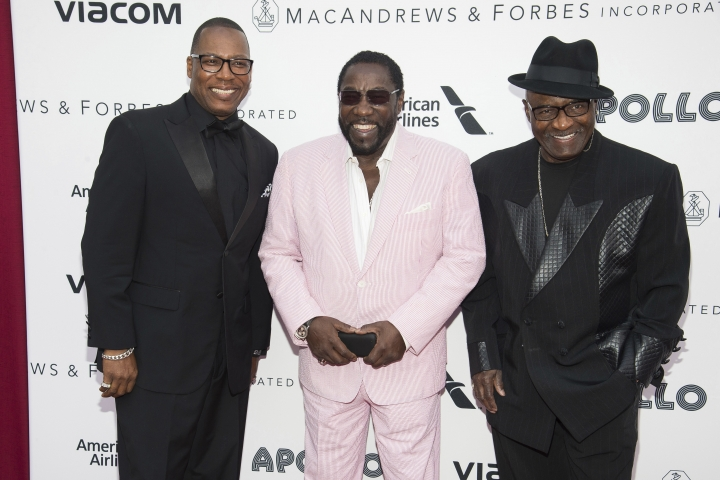 "FILE - In this June 13, 2016 file photo, members of the group The O'Jays, from left, Eric Grant, Eddie Levert and Walter Williams attend the 2016 Apollo Theater Spring Gala in New York. The Rock and Roll Hall of Fame inductees known for the classic song ""Love Train"" on Friday released the politically charged single ""Above the Law,"" which explores racial and class inequality. The single will be part of the group's final studio album, ""The Last Word,"" which is their first original material in almost 20 years and is set for release Feb. 22. (Photo by Charles Sykes/Invision/AP, File)"