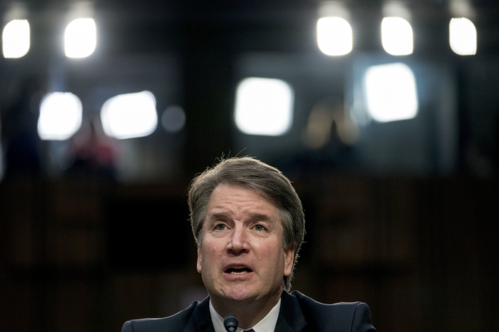 In this Sept. 4, 2018 photo, President Donald Trump's then Supreme Court nominee Judge Brett Kavanaugh, speaks before the Senate Judiciary Committee on Capitol Hill in Washington. Just 1 in 4 people think Brett Kavanaugh was completely honest during his pivotal testimony last month to the Senate Judiciary Committee. That's according to a poll by The Associated Press-NORC Center for Public Affairs Research. (AP Photo/Andrew Harnik)