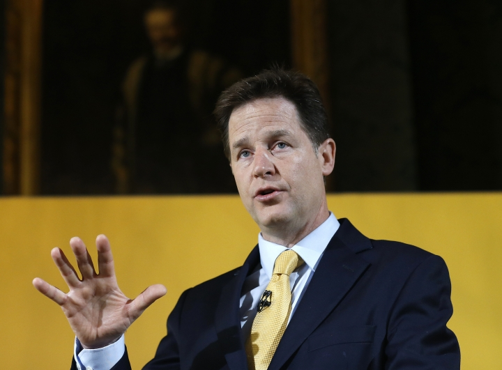 FILE - In this Tuesday, April 28, 2015 file photo, Nick Clegg, then leader of Britain's Liberal Democrat party, speaks at a press conference in London. Facebook has hired former U.K. deputy prime minister Nick Clegg to head its global policy and communications teams it was announced Friday, Oct. 19, 2018, enlisting a veteran of European Union politics to help it with increased regulatory scrutiny by the bloc. Clegg, 51, will become a vice president of the social media giant, and report to Chief Operating Officer Sheryl Sandberg. (AP Photo/Kirsty Wigglesworth, file)
