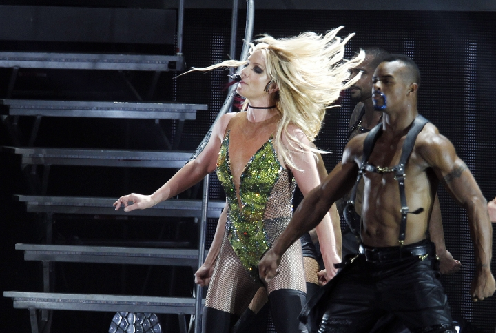 FILE - In this June 13, 2017, file photo, singer Britney Spears sings during her concert in Taipei, Taiwan. MGM Resorts International on Friday said the pop superstar in February, 2019, will kick off a series of regularly scheduled shows at Park Theater inside the Park MGM casino-resort on the Las Vegas Strip. (AP Photo/Chiang Ying-ying, file)