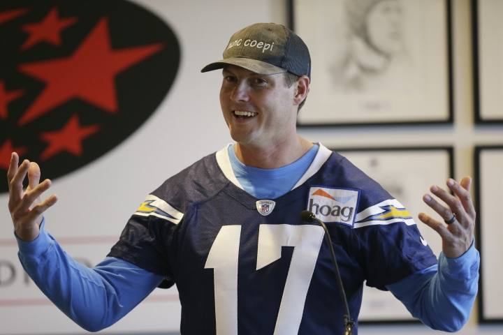 Los Angeles Chargers quarterback Philip Rivers speaks during a press conference following a training session at Allianz Park in London, Friday Oct. 19, 2018. The Los Angeles Chargers are preparing for an NFL football game against the Tennessee Titans at London's Wembley stadium on Sunday. (AP Photo/Tim Ireland)