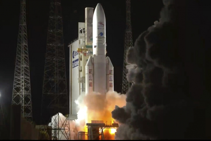 In this photo provided by European Space Agency (ESA), The Ariane 5 rocket carrying BepiColombo lifts off from its launch pad at Kourou in French Guiana, for the mission to Mercury, Saturday, Oct. 20, 2018. (ESA via AP)