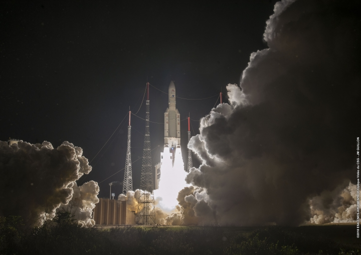 In this photo released by European Space Agency (ESA), the Ariane 5 rocket carrying BepiColombo lifts off from its launch pad at Kourou in French Guiana, for the mission to Mercury, Saturday, Oct. 20, 2018. (JM Guillon/2018 ESA-CNES-Arianespace via AP)