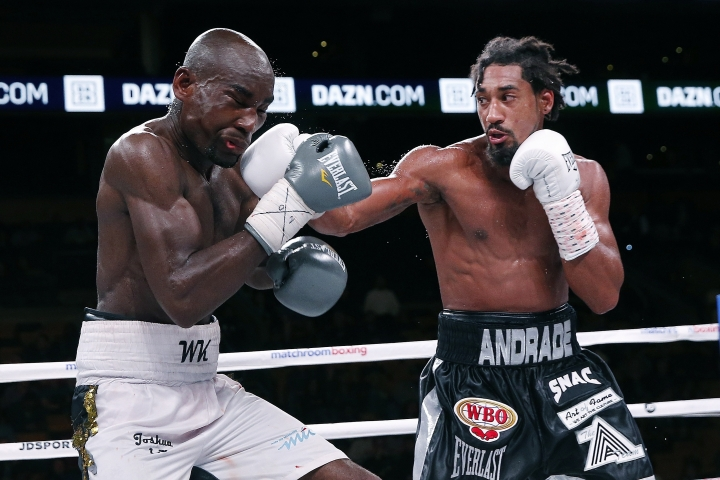 Demetrius Andrade lands a right on Walter Kautondokwa during a WBO middleweight championship boxing match in Boston, Sunday, Oct. 21, 2018. (AP Photo/Michael Dwyer)