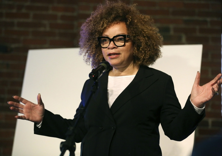"FILE - In this March, 20, 2018, file photo, renowned costume designer Ruth Carter, who has designed for films including ""Roots"" and ""Black Panther,"" introduces a new retrospective fashion exhibition, Heros & Sheros: A Ruth E. Carter Costume Exhibition at the Heinz History Center in Pittsburgh. Carter, the creator of numerous Hollywood films, will receive the career achievement award at next year's Costume Designers Guild Awards. The guild announced Tuesday, Oct. 23, that the two-time Academy Award nominee will receive the honor at the 21st annual ceremony held on February 19 in Beverly Hills, California. (Jessie Wardarski/Pittsburgh Post-Gazette via AP, File)"