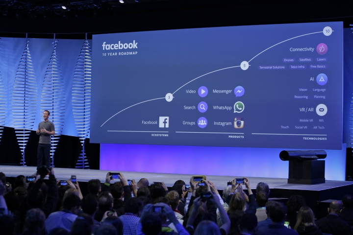 FILE- In this April 12, 2016, file photo, Facebook CEO Mark Zuckerberg talks about the company's 10-year roadmap during the keynote address at the F8 Facebook Developer Conference in San Francisco. Instagram along with Messenger and WhatsApp are serving as the social media giant's insurance policy for a future that might not be dominated by its flagship service. (AP Photo/Eric Risberg, File)