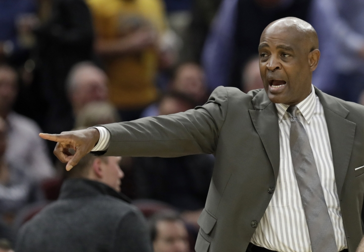 Cleveland Cavaliers acting head coach Larry Drew yells instructions to players in the first half of an NBA basketball game against the Atlanta Hawks, Tuesday, Oct. 30, 2018, in Cleveland. (AP Photo/Tony Dejak)