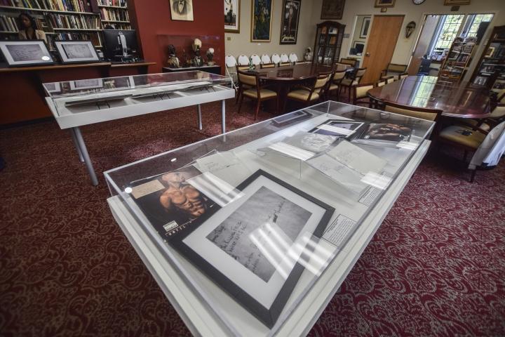 Items that belonged to rapper Tupac Shakur are now part of the Blockson Collection at Temple University, in Philadelphia, Thursday, Nov. 1, 2018. (Erin Blewett /The Philadelphia Inquirer via AP)