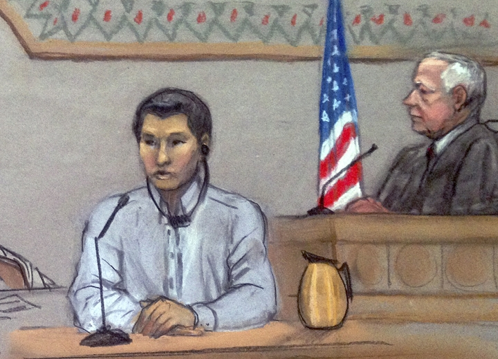 FILE - In this June 2, 2014, file courtroom sketch, Dias Kadyrbayev, left, testifies in federal court in Boston. Kadyrbayev, a native of Kazakhstan and friend of Boston Marathon bombing suspect Dzhokhar Tsarnaev, was deported Oct. 24, 2018, to his native Kazakhstan after he was convicted of concealing evidence in the case. He's been in the custody of the U.S. Immigration and Customs Enforcement in Texas since August 2018. (Jane Flavell Collins via AP, File)