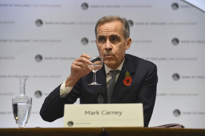 Bank of England Governor Mark Carney attends the Bank of England's inflation report press conference in the City of London, Thursday Nov. 1, 2018. (Kirsty O'Connor/Pool via AP)