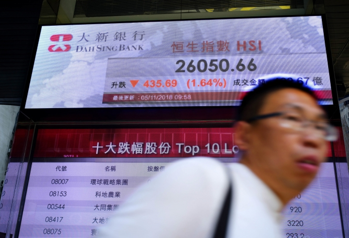 A man walks past an electronic board showing Hong Kong share index outside a local bank in Hong Kong, Monday, Nov. 5, 2018. Asian markets tumbled Monday as traders feared that President Donald Trump only reported progress in trade talks with China to score political points as the U.S. midterm elections draw near. (AP Photo/Vincent Yu)