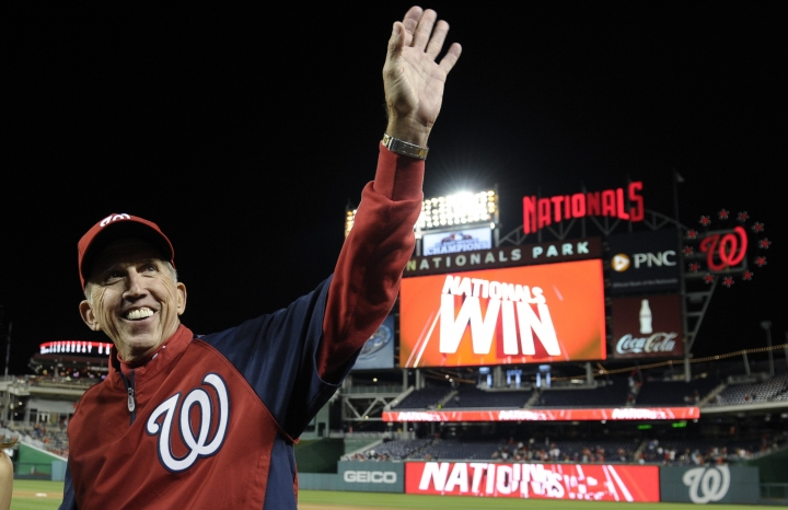FILE - In this Sept. 22, 2013, file photo, Washington Nationals manager Davey Johnson waves to fans after his team defeated the Miami Marlins at Nationals Park in Washington. Late Yankees owner George Steinbrenner, former managers Johnson, Lou Piniella, and Charlie Manuel, and six players headed by Lee Smith are on the 10-man ballot for the baseball Hall of Fame's today's game era committee to consider Dec. 9, 2018. (AP Photo/Susan Walsh, File)