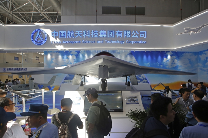 China's new-generation stealth unmanned combat aircraft prototype, the CH-7, is displayed during the 12th China International Aviation and Aerospace Exhibition, also known as Airshow China 2018, Tuesday, Nov. 6, 2018, in Zhuhai city, south China's Guangdong province. (AP Photo/Kin Cheung)