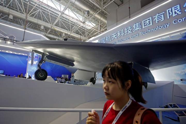 China new-generation stealth unmanned combat aircraft prototype, the CH-7, is displayed during the 12th China International Aviation and Aerospace Exhibition, also known as Airshow China 2018, Tuesday, Nov. 6, 2018, in Zhuhai city, south China's Guangdong province. (AP Photo/Kin Cheung)