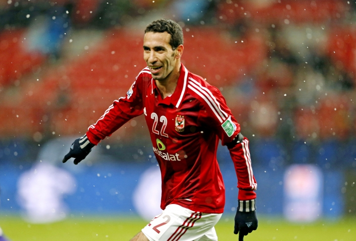 FILE - In this Dec. 9, 2012 file photo, Al-Ahly SC's Mohamed Aboutrika celebrates after scoring a goal against Sanfrecce Hiroshima during their quarterfinal at the FIFA Club World Cup soccer tournament in Toyota, Japan. On Monday, Nov. 12, 2018, an Egyptian court sentenced Aboutrika, one of the country's greatest all-time soccer players, to a year in prison for tax evasion while also giving him the option to pay a fine of 20,000 Egyptian pounds, or $1,115, to have the sentence suspended. (AP Photo/Shuji Kajiyama, File)