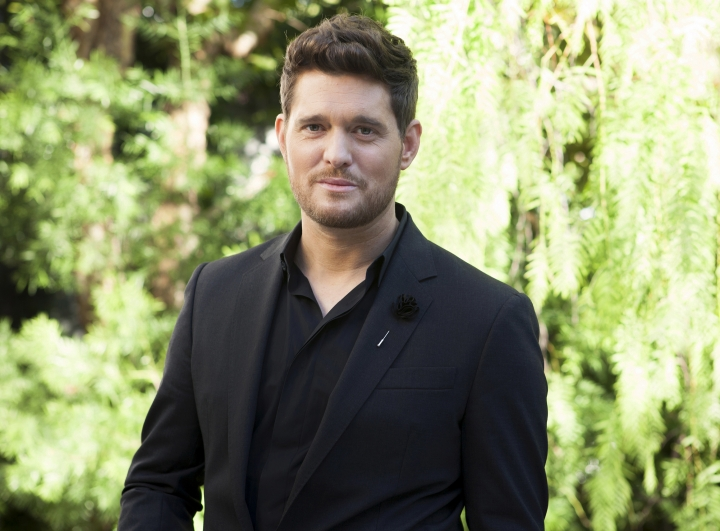 "In this Oct. 16, 2018 photo, Michael Buble poses for a portrait at the Sunset Marquis in Los Angeles to promote his 10th album ""Love,"" out on Friday, Nov. 16. (Photo by Rebecca Cabage/Invision/AP)"