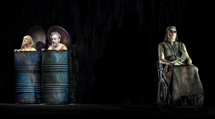 In this photo taken on Nov. 11, 2018, from left, Hilary Sanders, Leonardo Cortellazzi and Frode Olsen perform during rehearsals of Gyoergy Kurtag's opera 'Fin de Partie' at the Milan La Scala opera house, Italy. The long-awaited premiere of composer Georgy Kurtag's first-ever opera at Milan's La Scala opera house, based on a Beckett play, ''Fin de Partie'' is being billed as the most important opera premiere of the last 50 years and it is scheduled to go on stage Thursday, Nov. 15, 2018. (Ruth Walz via AP)