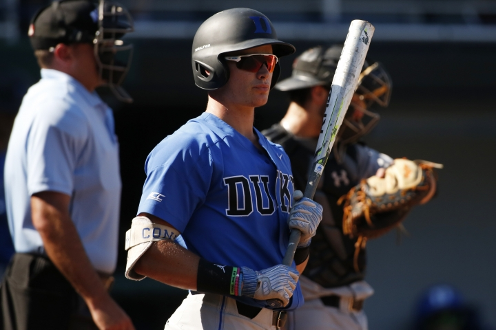 FILE - In this June 2, 2018, file photo, then-Duke's Griffin Conine gets ready to bat during an NCAA college baseball tournament regional game against Campbell, in Athens, Ga. Toronto outfielder Griffin Conine, a son of former major league outfielder Jeff Conine, has been suspended for the first 50 games of next season under the minor league drug program for a positive test for the banned stimulant Ritalinic Acid. (Joshua L. Jones/Athens Banner-Herald via AP, File)