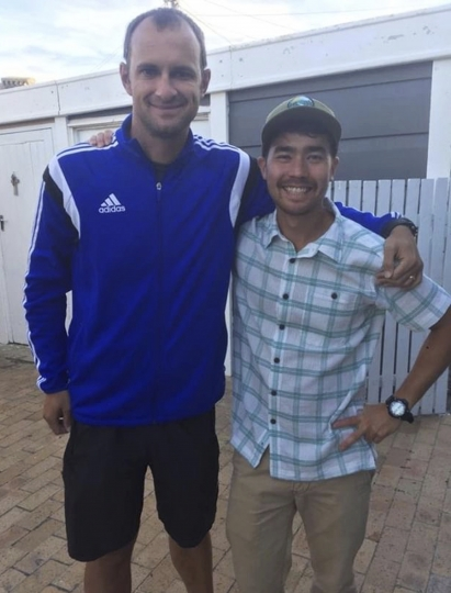 """In this October 2018 photo, American adventurer John Allen Chau, right, stands for a photograph with Founder of Ubuntu Football Academy Casey Prince, 39, just days before he left for India where he was killed in a remote island populated by the Sentinelese, a tribe known for shooting at outsiders with bows and arrows, in Cape Town, South Africa. The Sentinelese people are resistant to outsiders and often attack anyone who comes near, and visits to the island are heavily restricted by the government. """"He was an explorer at heart,"""" Prince said. """"He loved creation and being out in it, I think having probably found and connected with God that way, and deeply so."""" (AP Photo/Sarah Prince)"""