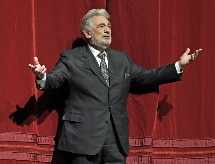 In this photo provided by the Metropolitan Opera, Placido Domingo stands on stage at the Metropolitan Opera, Friday, Nov. 23, 2018, in New York. Domingo celebrated the 50th anniversary of his debut at the Met. (Ken Howard/Metropolitan Opera via AP)