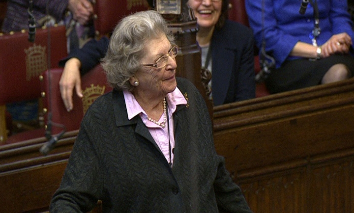 This April 13, 2010 image made available on Tuesday, Nov. 27, 2018 shows British politician Jean Baker, better known by her title Baroness Trumpington, at the House of Commons, in London. Her son Adam Baker says she died Monday in her sleep at the age of 96. (House of Commons/PA via AP)